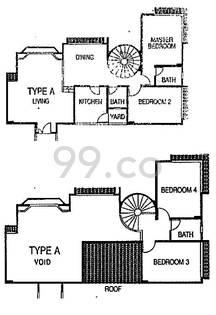 Affluence Court Condo Floor Plan for 4 Bedrooms A - 0 sqft / 0 sqm