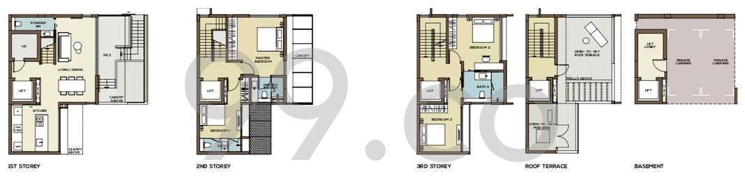 Place-8 Landed Floor Plan for 4 Bedrooms 21A - 3,207 sqft / 298 sqm