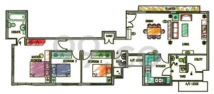 Nature Mansions Condo Floor Plan for 3 Bedrooms A1 - 0 sqft / 0 sqm