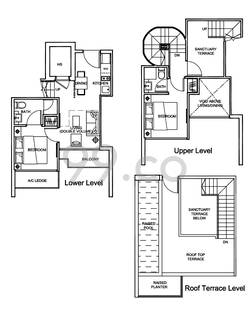 Centra Residence Condo Floor Plan for 2 Bedrooms PHb3 - 1,066 sqft / 99 sqm