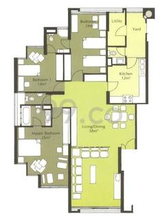 Amber Point Condo Floor Plan for 3 Bedrooms A - 1,690 sqft / 157 sqm