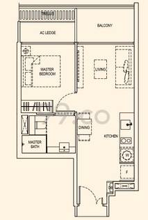 Kandis Residence Condo Floor Plan for 1 Bedroom A2t - 496 sqft / 46 sqm