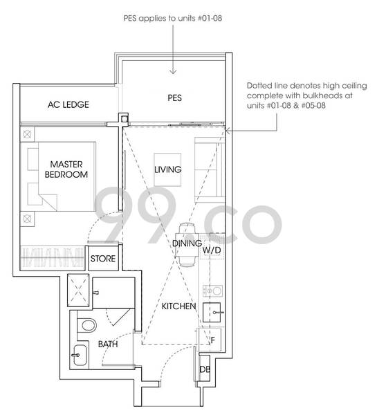 The Antares Condo Floor Plan for 1 Bedroom A1AG - 603 sqft / 56 sqm