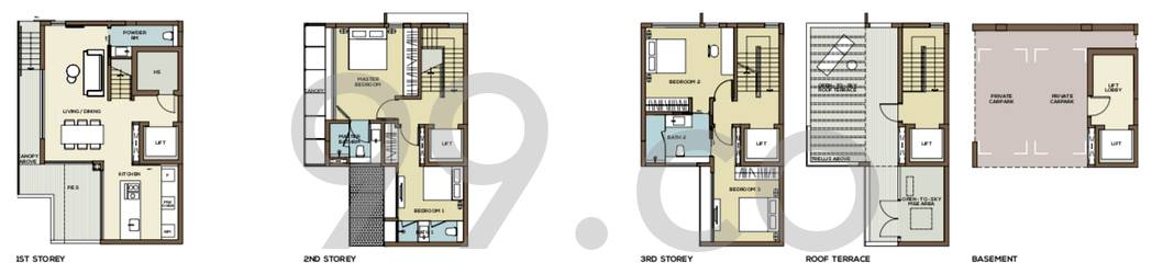 Place-8 Landed Floor Plan for 4 Bedrooms 21F - 3,175 sqft / 295 sqm