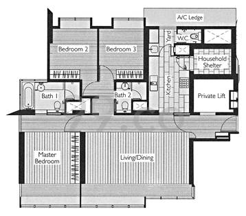 1 Moulmein Rise Condo Floor Plan for 3 Bedrooms A1 - 1,238 sqft / 115 sqm