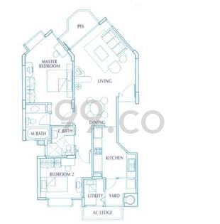 The Edgewater Condo Floor Plan for 2 Bedrooms A1p - 926 sqft / 86 sqm