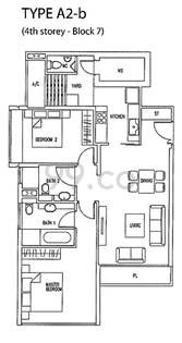The Wharf Residence Condo Floor Plan for 2 Bedrooms A2b - 1,012 sqft / 94 sqm
