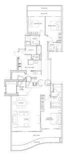 Turquoise Condo Floor Plan for 3 Bedrooms A1 - 2,088 sqft / 194 sqm