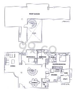 Palm Residence Condo Floor Plan for 3 Bedrooms C2 - 0 sqft / 0 sqm