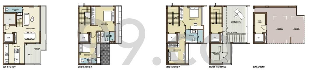 Place-8 Landed Floor Plan for 4 Bedrooms 21E - 3,250 sqft / 302 sqm