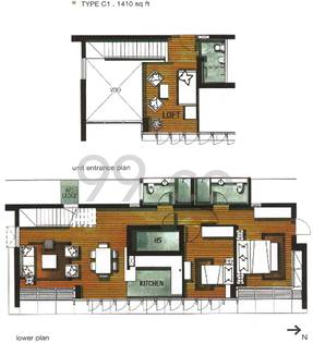 The Lincoln Modern Condo Floor Plan for 2 Bedrooms C1 - 1,410 sqft / 131 sqm