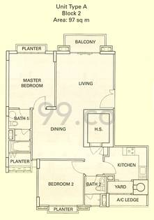 The Cornwall Condo Floor Plan for 2 Bedrooms A - 1,043 sqft / 97 sqm