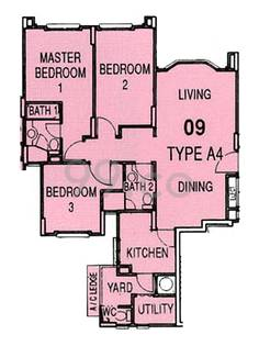 Parkview Apartments Condo Floor Plan for 3 Bedrooms A4 - 0 sqft / 0 sqm