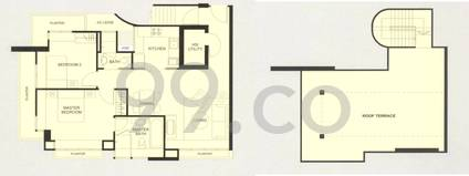 Clydes Residence Condo Floor Plan for 2 Bedrooms AP - 0 sqft / 0 sqm