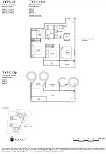 Rivertrees Residences Condo Floor Plan for 2 Bedrooms B3a - 872 sqft / 81 sqm