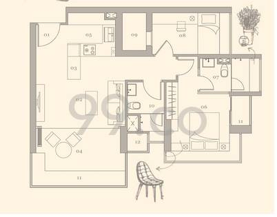 Gilstead Two Condo Floor Plan for 2 Bedrooms A - 904 sqft / 84 sqm