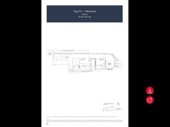 3br Type A1 1,076sf