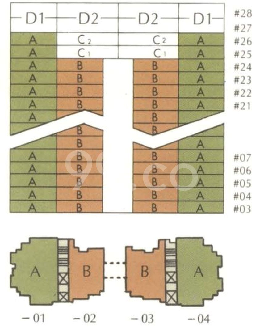 Amber Point Condo Elevation Chart and Unit Distribution by Stack and Block Level