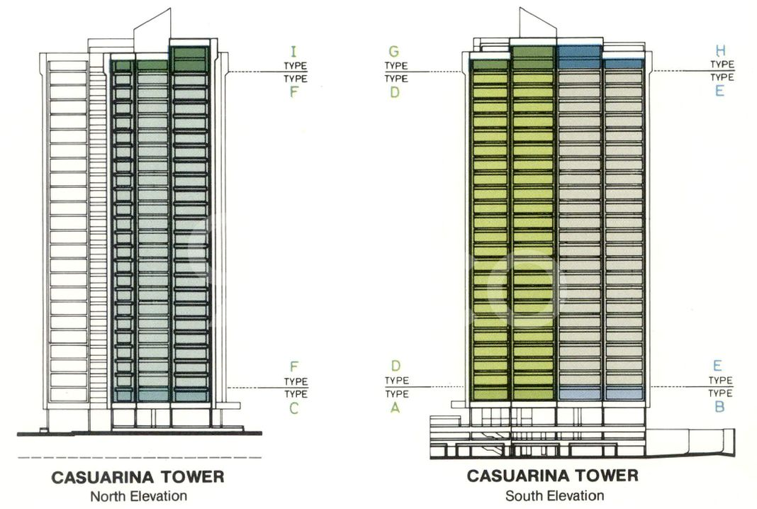 Yong An Park Condo Elevation Chart and Unit Distribution by Stack and Block Level