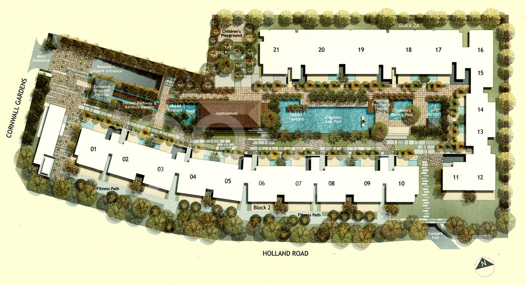The Cornwall Condo Site Plan in Bukit Timah by Lum Chang Development Pte Ltd
