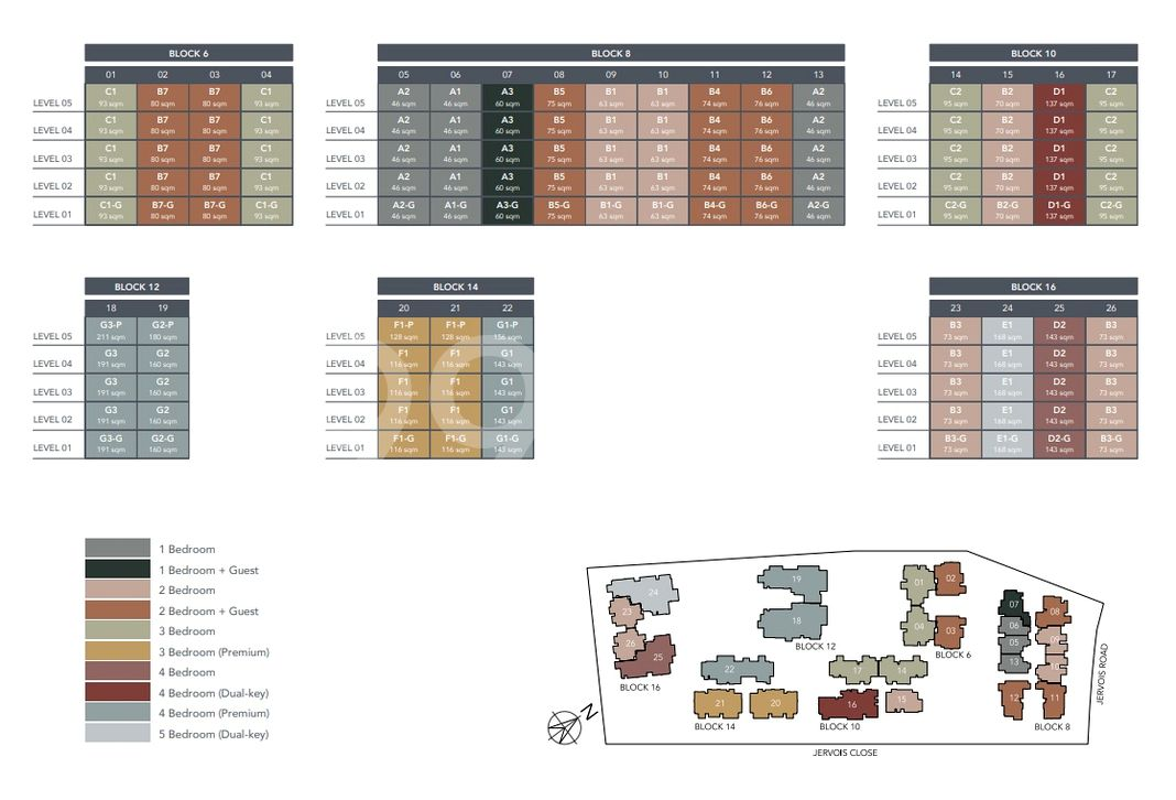 Jervois Mansion Condo Elevation Chart and Unit Distribution by Stack and Block Level
