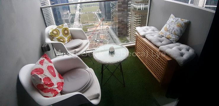 Nice balcony with settee and grass carpet