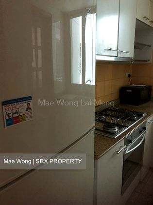 Kitchen with fridge, gas stove, microwave oven and cabinet