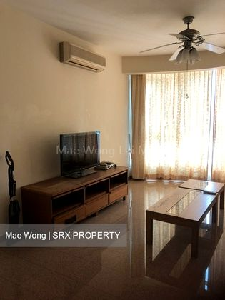 Living room with table & TV, with cabinet
