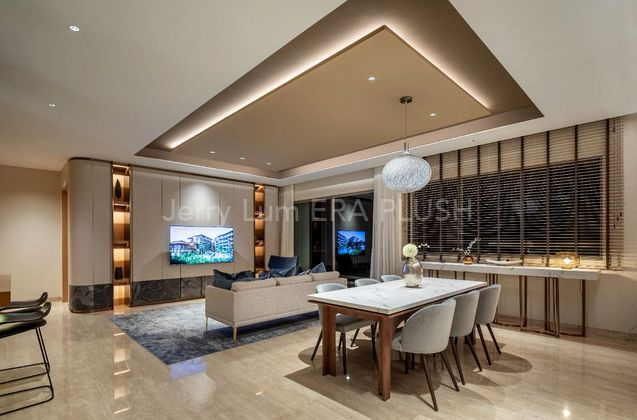 Fully Furnished Living Room and Dining Room